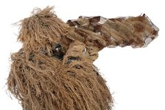 Sniper in ghillie suit  on white. Background Stock Image