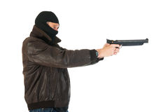 Sniper with gun. In the studio Royalty Free Stock Photography