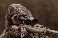 Sniper hiding in forest. Hunter or soldier hiding in bushes, autumn forest background. Sniper with rifle Royalty Free Stock Image