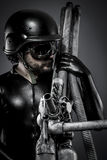 Sniper with huge plasma rifle, fantasy concept Stock Photography