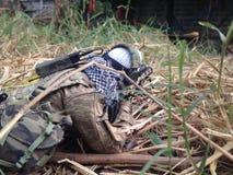 Sniper Killer. Sniper soldier shooting enermy Stock Photography
