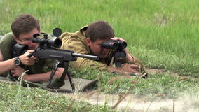 Sniper Makes the Shot stock video footage