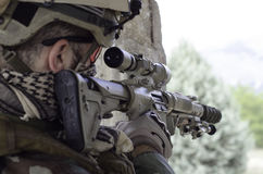 Sniper multicam m4 scope sniper Royalty Free Stock Image
