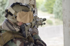 Sniper multicam m4 scope sniper Royalty Free Stock Photos