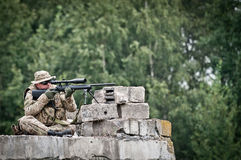 Sniper in nest Royalty Free Stock Images