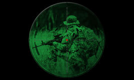 Sniper during night operation hostage rescue.view through the ni Royalty Free Stock Image