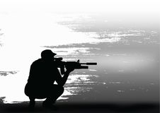 The sniper prepares for shooting. Royalty Free Stock Image