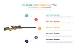 Sniper riffle infographic template concept with five points list and various color with clean modern white background -  royalty free illustration