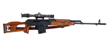 Sniper rifle. Romanian Dragunov type FPK sniper rifle. Used in Iraq and Afghanistan Stock Images