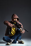 Sniper with the rifle Royalty Free Stock Images