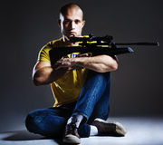 Sniper with the rifle. Dangerous sniper with the rifle Royalty Free Stock Photos