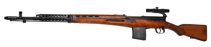 Sniper rifle. The Soviet automatic sniper rifle SVT-40 Finnish and World War II of wars Stock Photography