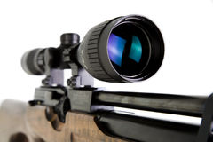 Sniper Rifle. Close-up Shot of Precision Lens Scope on Snipers Rifle Royalty Free Stock Photos