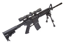 Sniper rifle with bipod isolated Royalty Free Stock Photos