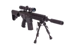 Sniper rifle with bipod isolated. On a white background Stock Photos