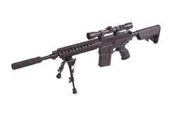 Sniper rifle with bipod. Isolated on a white background Royalty Free Stock Photos