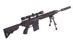 Sniper rifle with bipod. Isolated on a white background Stock Images