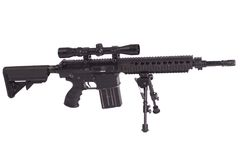 Sniper rifle with bipod. Isolated on a white background Stock Image