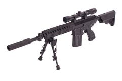 Sniper rifle with bipod. Isolated on a white background Stock Photography