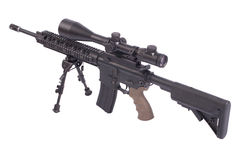 Sniper rifle with bipod. Isolated on a white background Stock Photo