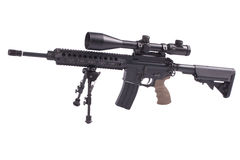 Sniper rifle with bipod. Isolated on a white background Stock Photos