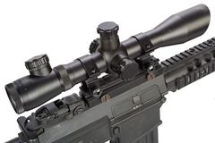 Sniper rifle with bipod and silencer isolated. On a white background Royalty Free Stock Photography