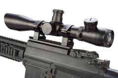 Sniper rifle with bipod and silencer isolated. On a white background Stock Images