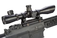Sniper rifle with bipod and silencer isolated. On a white background Stock Photography