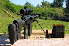 Sniper rifle caliber .50 BMG. On shooting range Royalty Free Stock Image