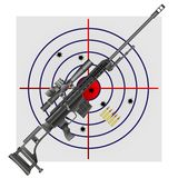 Sniper rifle, cartridges, target. Vector illustration of a sniper rifle and ammo on the background of the target Stock Photo