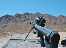 Sniper rifle Barrett 0.50 caliber m81a1. Sniper rifle close up , Barrett 0.50 caliber m81a1 in a shooting range near Las Vegas, training purpose Stock Photo