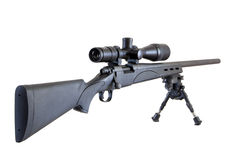 Sniper rifle isolated on white. M24 Sniper rifle on bipod isolated on white background Stock Image
