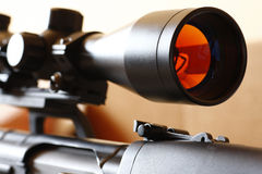Sniper rifle scope. Detail of dragunov rifle with scope stock images