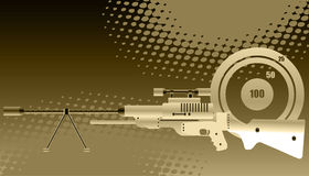 Sniper rifle with scope. Abstract background with target and sniper rifle with precision lens scope Stock Photos