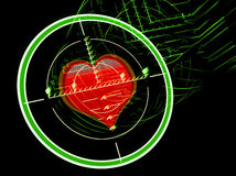 Sniper rifle sight with heart Royalty Free Stock Images