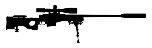 Sniper rifle silhouette. Vector illustration of a sniper rifle silhouette isolated on white background Royalty Free Stock Image