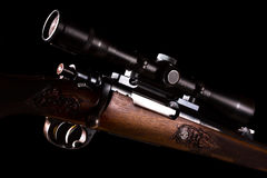 Sniper rifle telescope glass lens with bullet load Stock Image