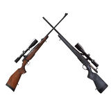 Sniper rifle. Two sniper rifle white background Stock Photography