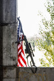 Sniper rifle with US banner. Large caliber sniper rifle with US banner Stock Photography