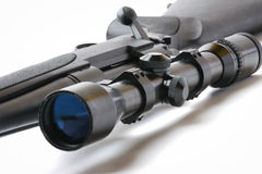 Sniper rifle on white royalty free stock photography