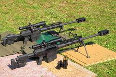 Sniper rifles caliber .50 BMG. On shooting range. With caliber .50 BMG (Browning Machine Gun) was made second longest kill in military history at 2,430 meters ( Stock Photo