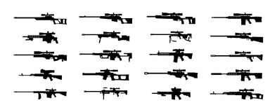 Sniper rifles set. Royalty Free Stock Photos
