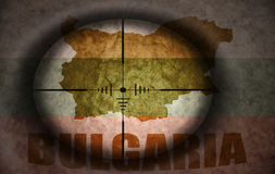Sniper scope aimed at the bulgarian flag and map Royalty Free Stock Images
