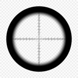 Sniper scope with measurement marks on an isolated transparent background. View through the sight of a hunter rifle. Vector. vector illustration