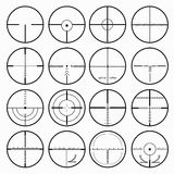 Sniper scopes monochrome collection of icons. (vector eps 10 Royalty Free Stock Photo