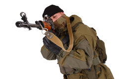 Sniper with SVD sniper rifle Royalty Free Stock Photos