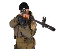 Sniper with SVD sniper rifle Stock Photo