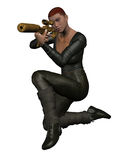 Sniper takes aim. Female assassin with red hair and dressed in black leather takes aim through telescopic sight Stock Photography