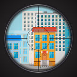 Sniper takes aim at house window, square flat illustration. Sniper takes aim at house window in the city, square flat illustration Royalty Free Stock Photos