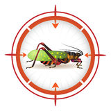 Sniper target with grasshopper Stock Photo